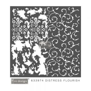 "Redesign 3D Décor Stencils - Distressed Flourish 22""x 22"""