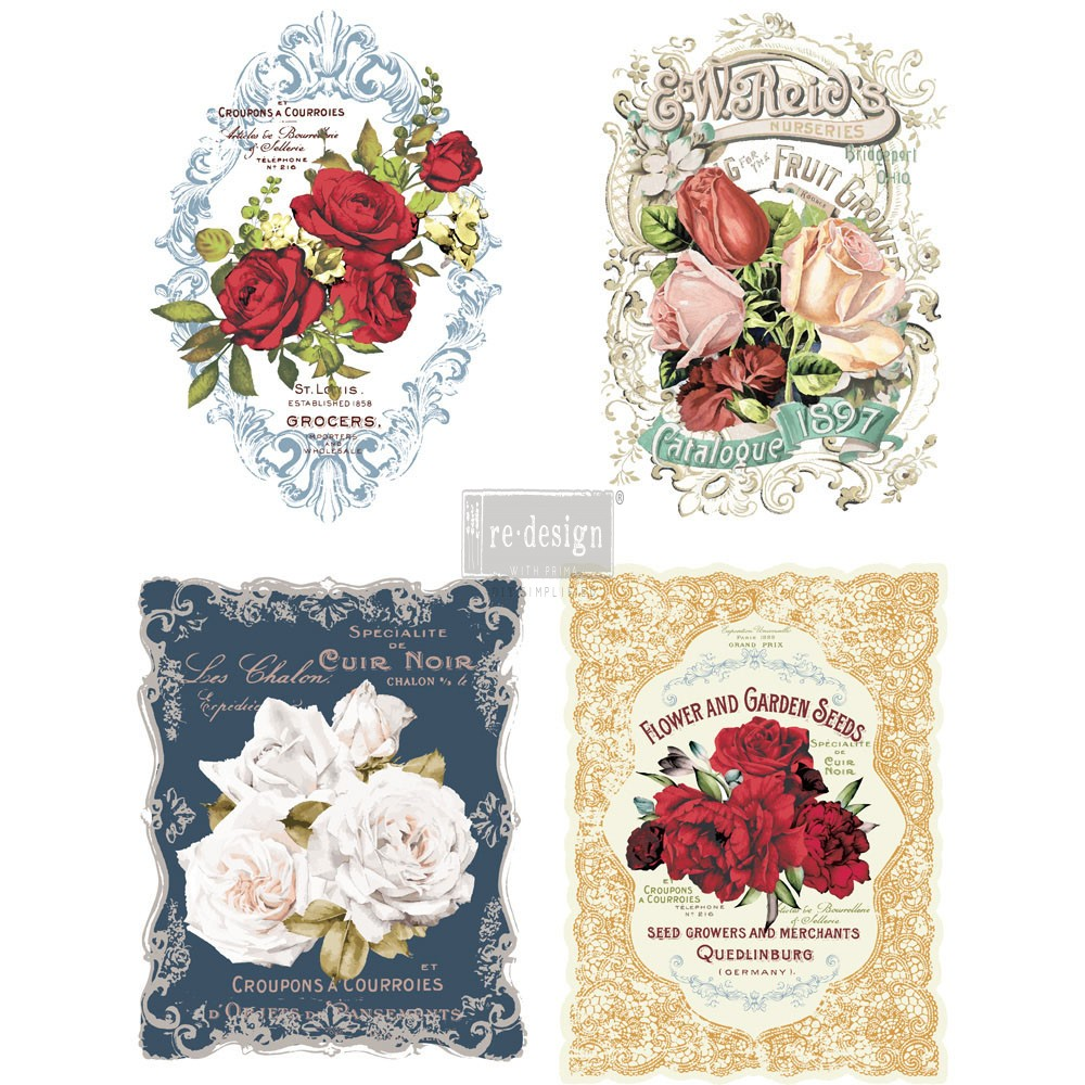 "Redesign Décor Transfers® - Wild Roses 11""x 15"" each design"