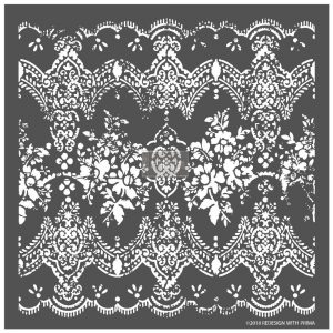 "Redesign 3D Décor Stencils - Distressed Lace 23""x 23"""