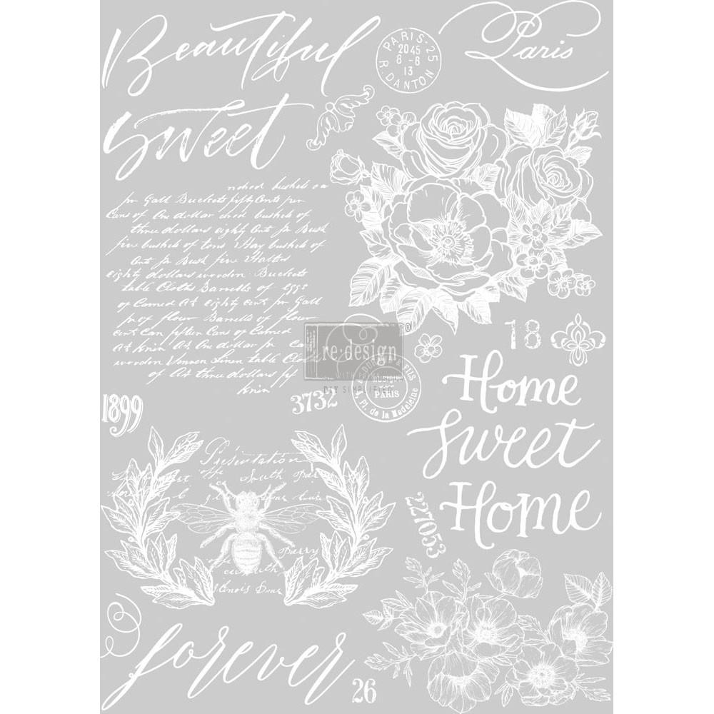 """Prima Re-design 24/"""" x 34/"""" Beautiful Home Floral Decor Transfer"""