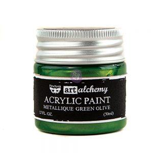 Art Alchemy-Acrylic Paint-Metallique Green   1.7 fl.oz (50ml)