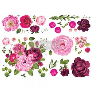 "Redesign Decor Transfers® - Lush Floral I - total sheet size 48""x35"", cut into 6 sheets"
