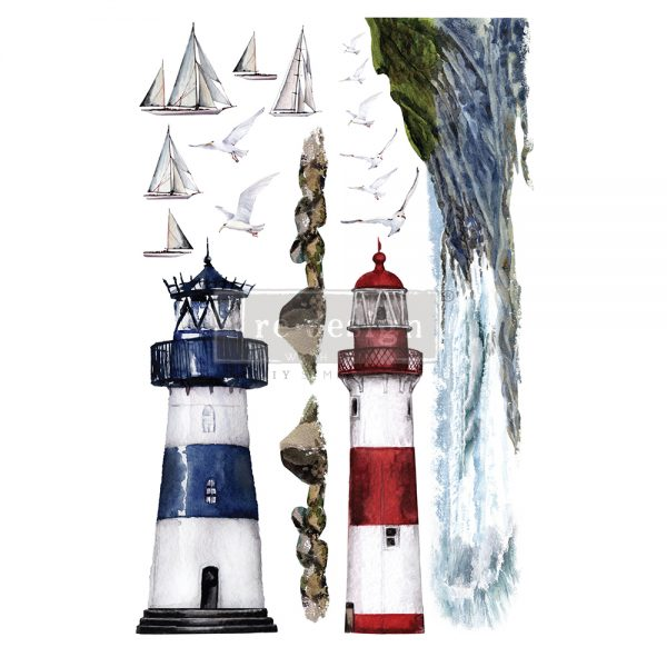 "Redesign Decor Transfers® - Lighthouse - total sheet size 24""x35"", cut into 2 sheets"