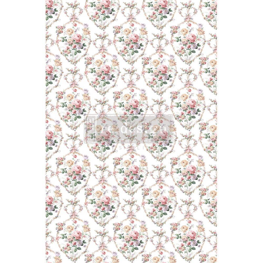 "Redesign Decor Transfers® - Floral Court - total sheet size 24""x35"", cut into 3 sheets"