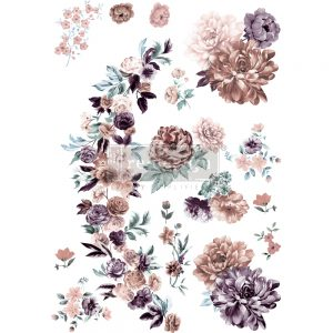 "Redesign Decor Transfers® - Burgundy Rose Garden - total sheet size 24""x35"", cut into 3 sheets"