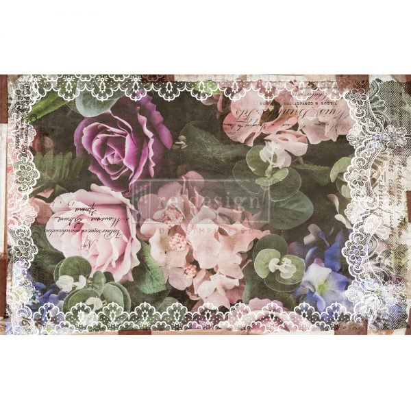 "Redesign Decoupage Décor Tissue Paper - Dark Lace Floral - 2 sheets (19"" x 30"")"