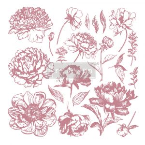Redesign Decor Clear-Cling Stamps - Linear Floral - 12x12 clear cling