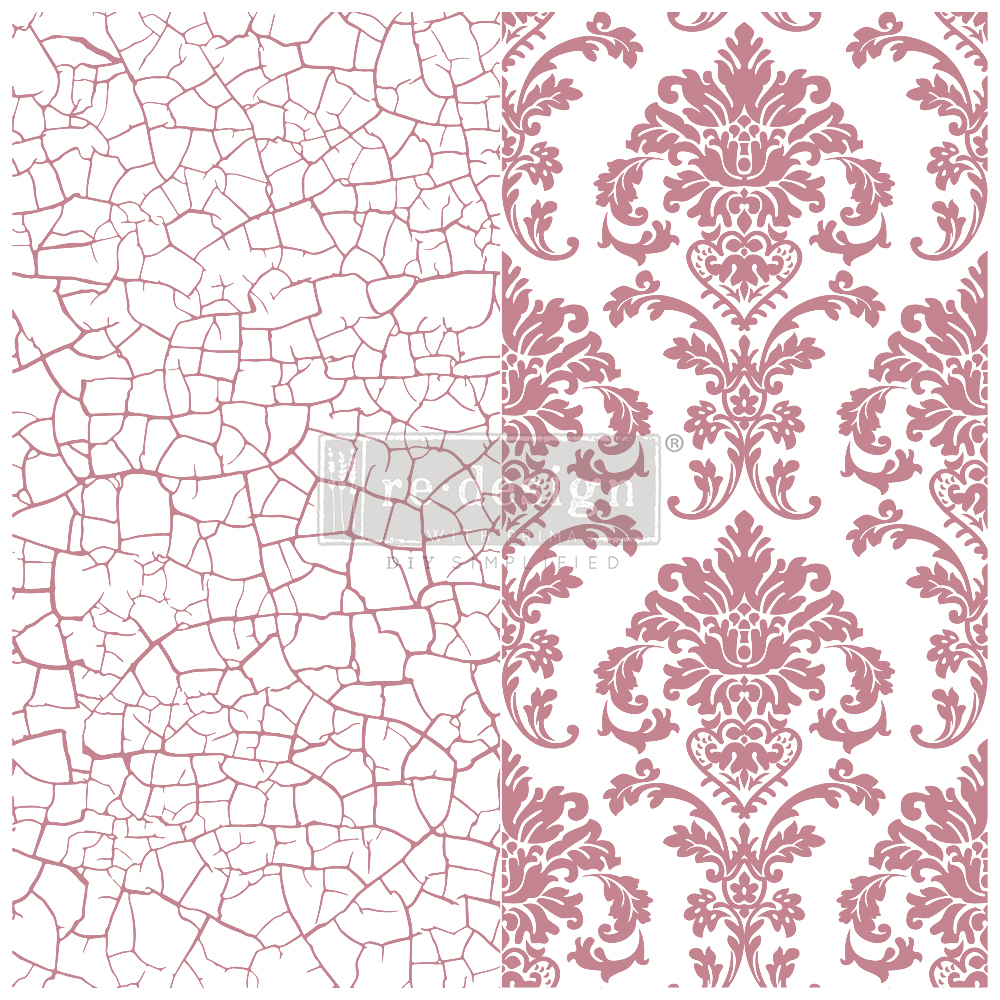 Redesign Decor Clear-Cling Stamp Imperial Crackle Stamps 12 \u00d7 12  2 pieces CLEAR CLING Furniture Stamp