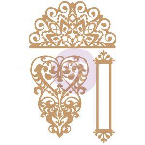 Chipboard Diecut - Lace & Heart -  3 pcs,  0.7-5