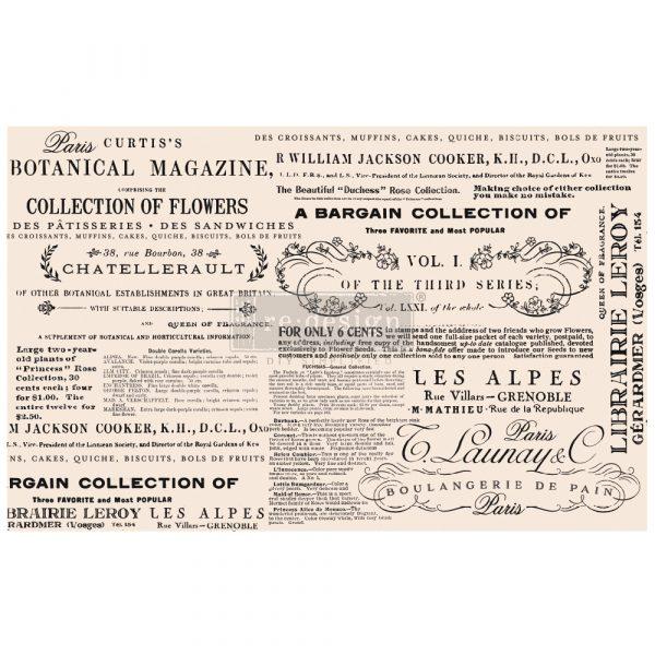 "Redesign Decoupage Décor Tissue Paper - Floral Text - 1 sheet, 19""x30"""
