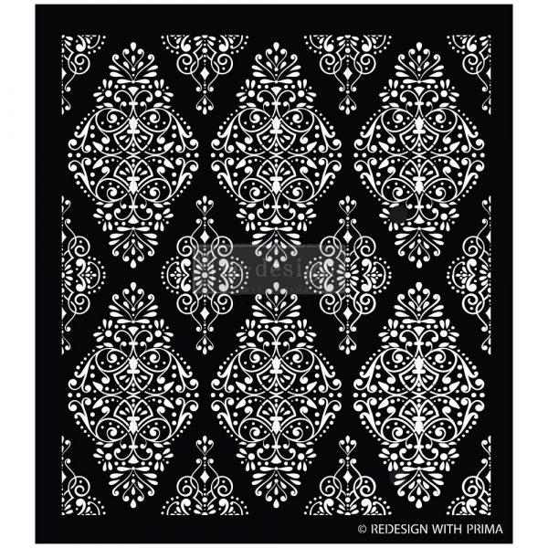 "Redesign Stencil - Diamond Flourish 17.25x21 - sheet size 17.25""x21"", design size 15.5""x17.3"""