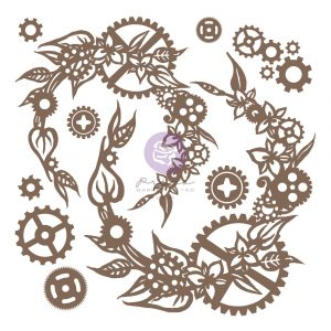 Finnabair Decorative Chipboard - Steampunk Wreath - 13 pcs