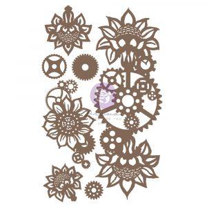 Finnabair Decorative Chipboard - Machine Floral Decors - 7 pcs