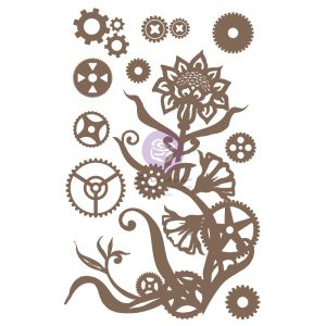 Finnabair Decorative Chipboard - Steampunk Flowers - 13 pcs