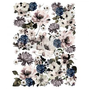 """Redesign Decor Transfers® - Dark Floral - Total sheet size 24""""x35"""", cut into 3 sheets"""