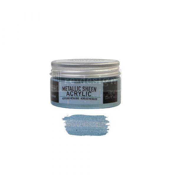 Redesign Acrylic Paint Metallic Sheen - Rare Aqua - 1 jar, 100 ml (3.4 fl oz)