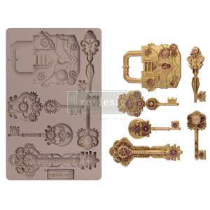 """Redesign Decor Moulds® -  Mechanical Lock & Keys - 1 pc, 5""""x8"""", 8mm thickness"""