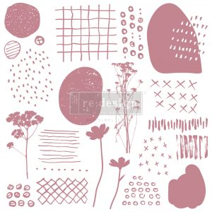 """Redesign Decor Stamp - Abstract Scribbles - 12""""x12"""" (19 pcs)"""