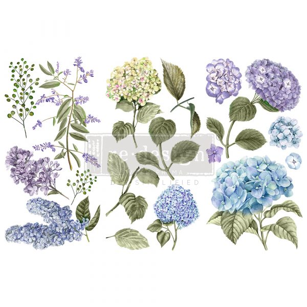 "Redesign Decor Transfers® - Mystic Hydrangea - 3 sheets, 6""x12"""