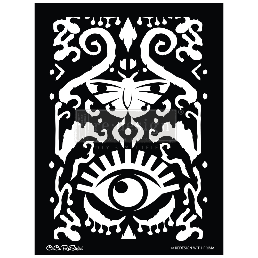 "Redesign Stencil -  CECE All Seeing Ikat Pattern 18x25.5 - sheet size 18""x25.5"", design size 15.1""x21.4"""