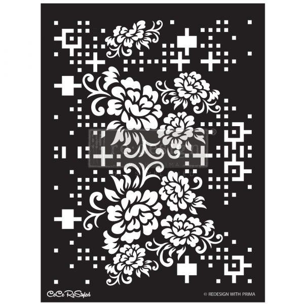 "Redesign Stencil -  CECE Floral Matrix 18x25.5 - sheet size 18""x25.5"", design size 15.9""x21.3"""