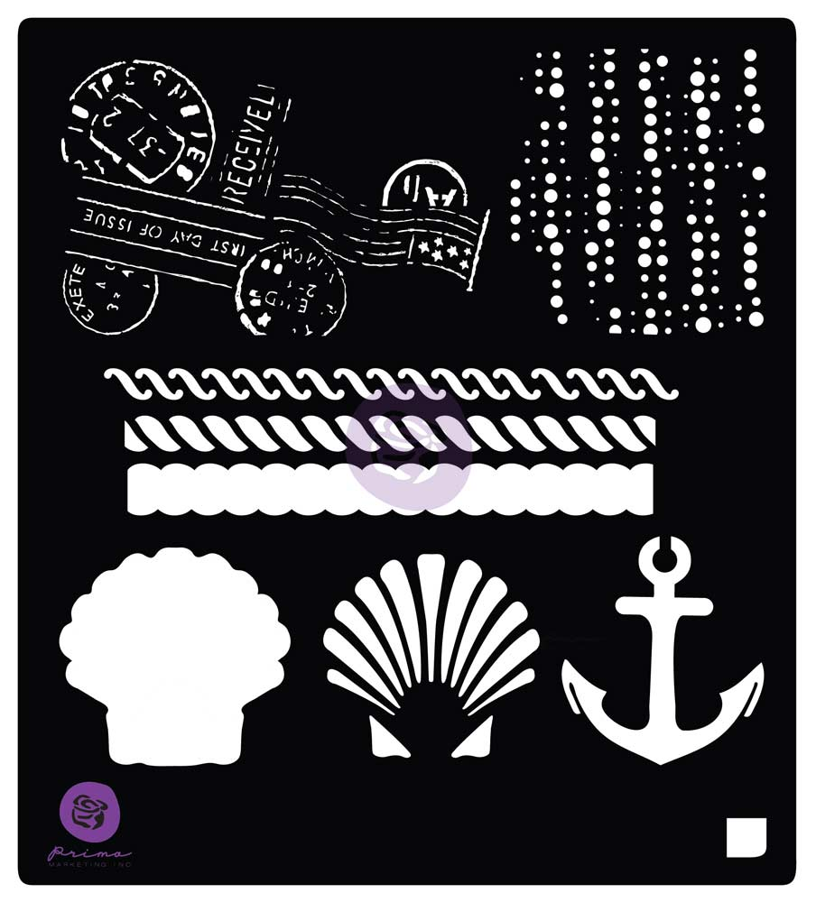 6X6 Stencil: French Riveria Anchor & Shell - 1 pc