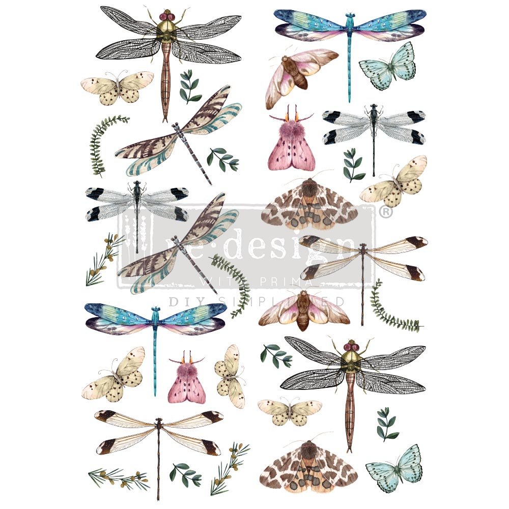 """Decor Transfers® - Riverbed Dragonflies - total sheet size 24""""x35"""", cut into 2 sheets"""