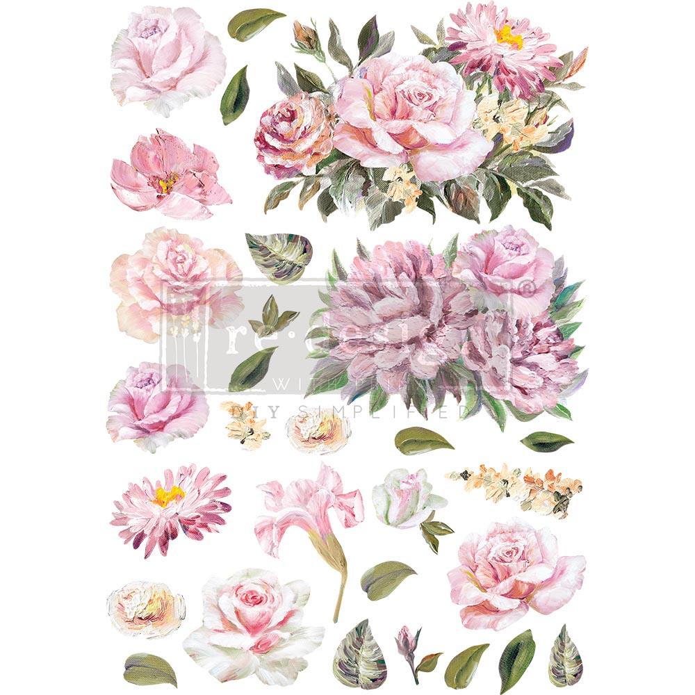 "Decor Transfers® - Rose Quartz - total sheet size 24""x35"", cut into 3 sheets"