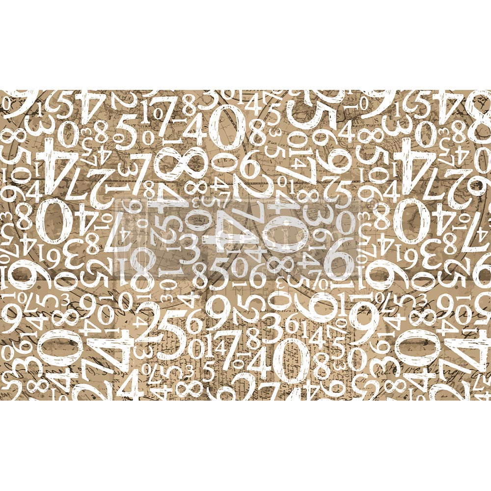 """Decoupage Decor Tissue Paper - Engraved Numbers - 1 sheet, 19""""x30"""""""