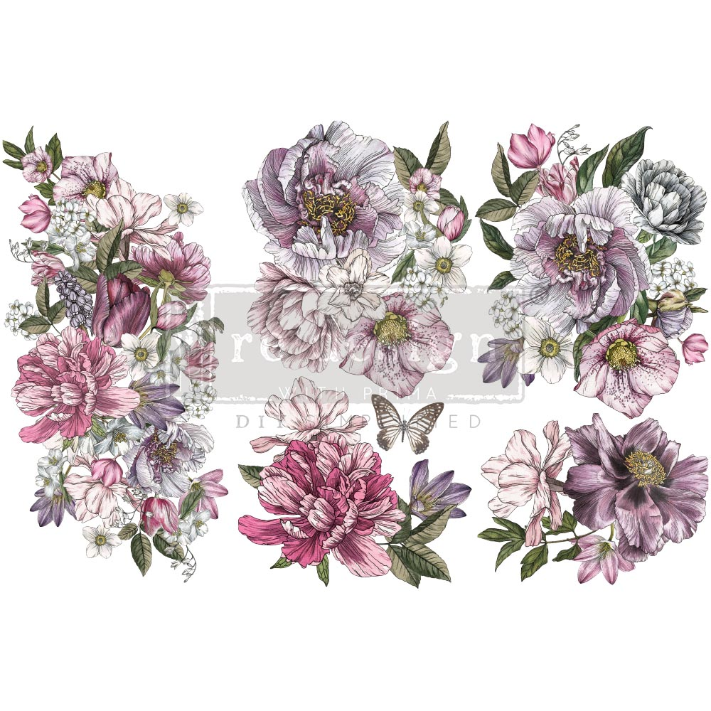 "Decor Transfers® - Dreamy Florals - 3 sheets, 6""x12"""