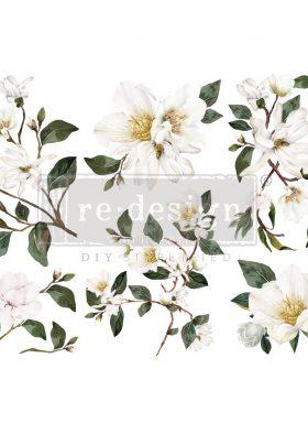 "Decor Transfers® - White Magnolia - 3 sheets, 6""x12"""